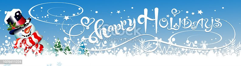 istock Christmas card. Happy Holidays - lettering, calligraphy with snowman 1025411224