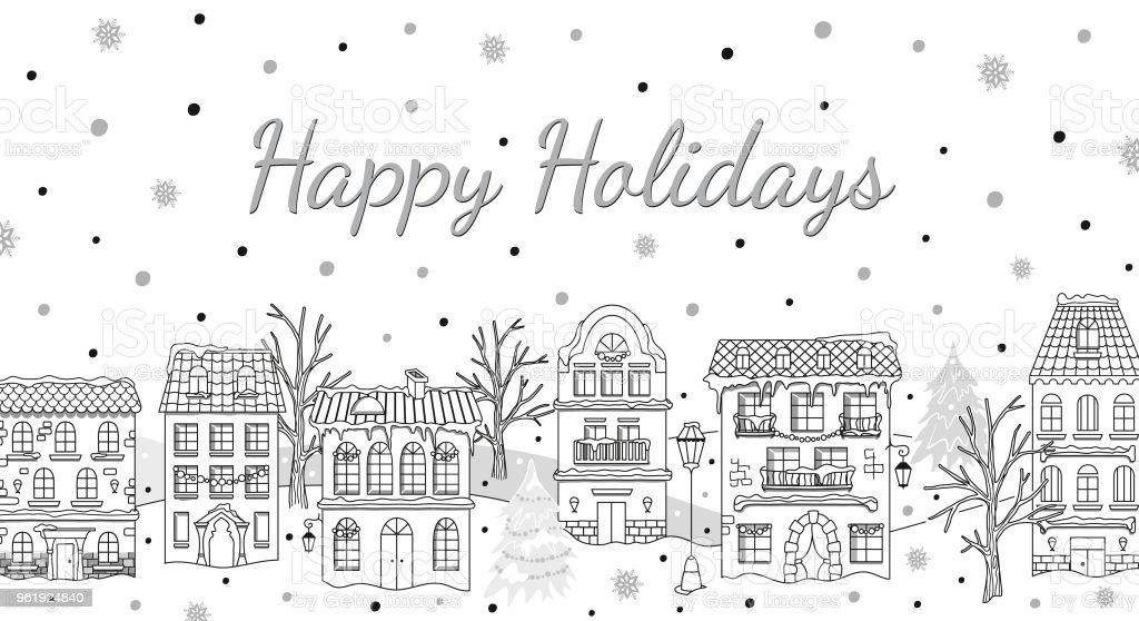 Christmas card houses snowfall winter urban landscape holiday design christmas card houses snowfall winter urban landscape holiday design for real estate reheart Image collections