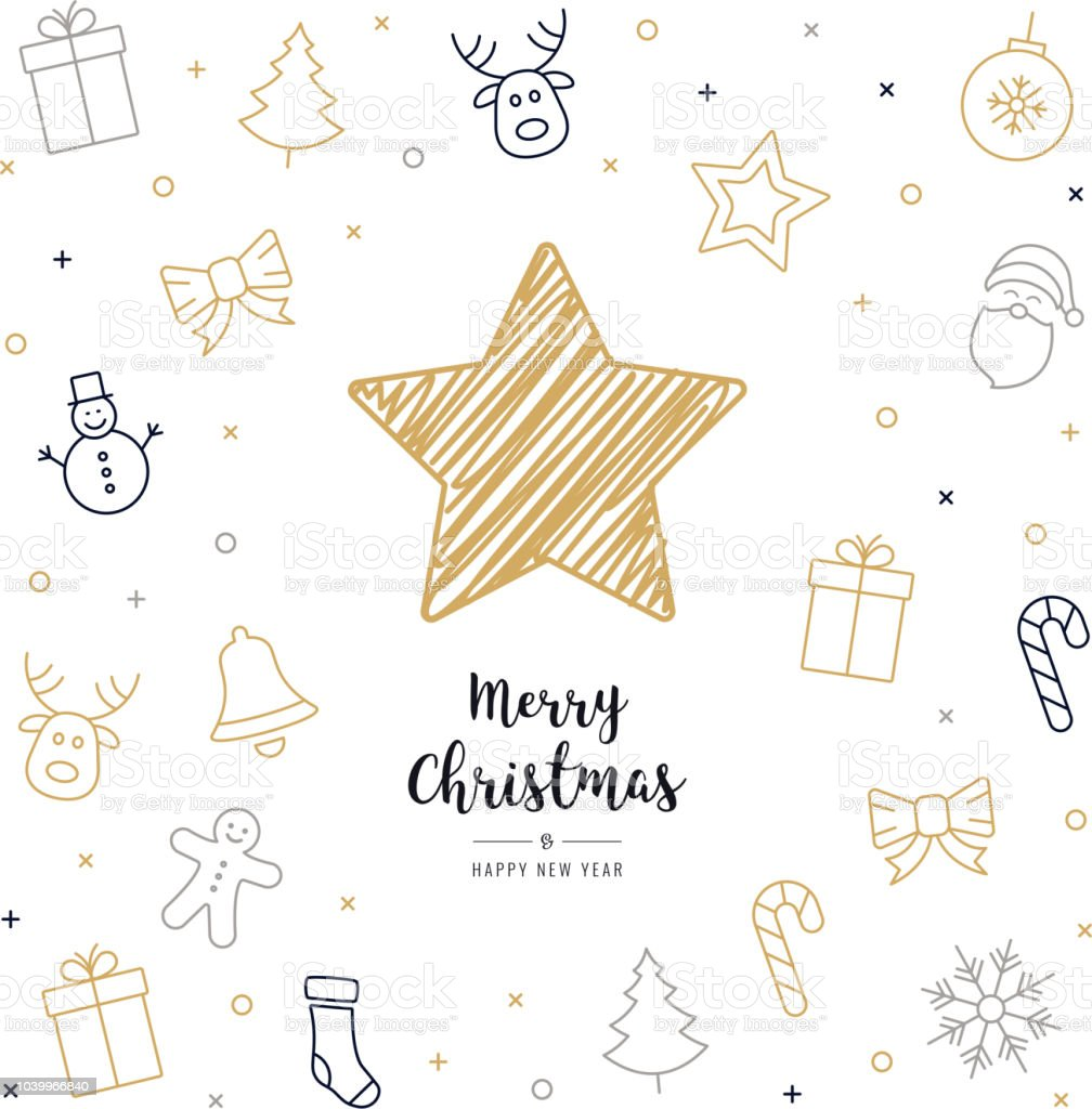 Christmas Card Drawing.Christmas Card Icon Elements Golden Black Text Greeting