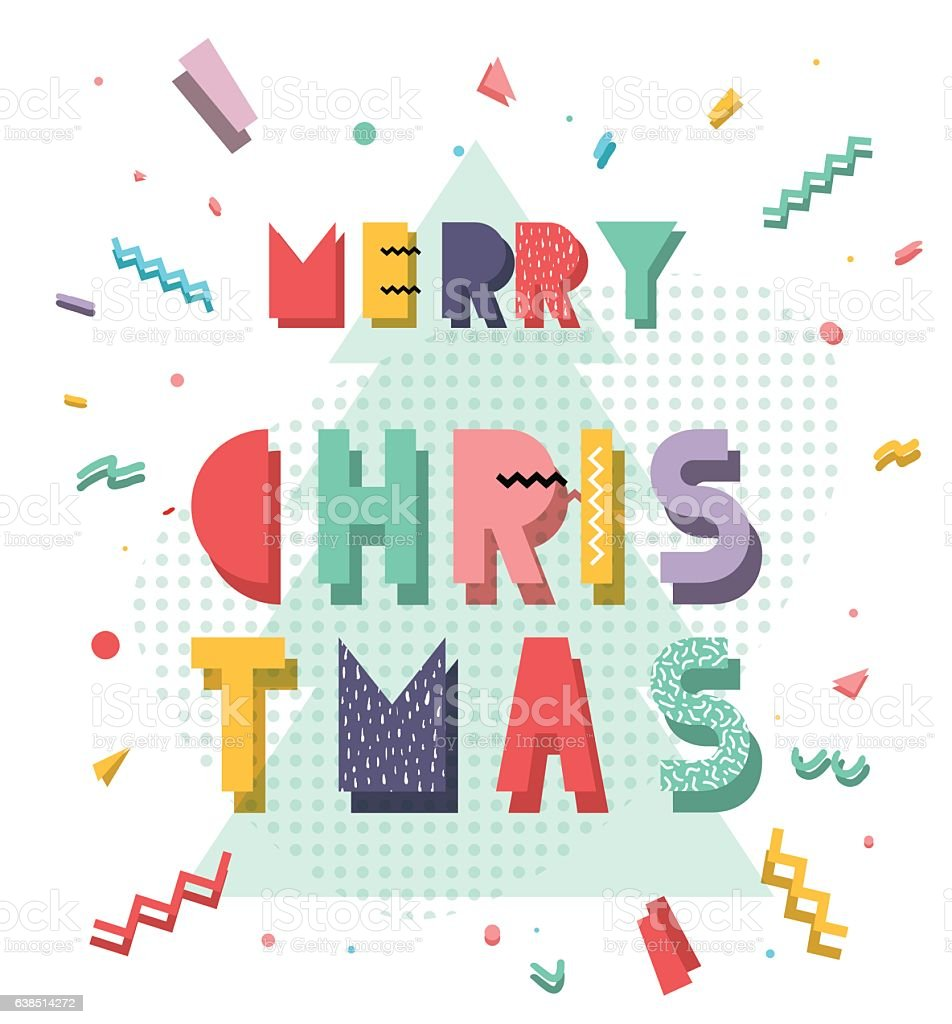 Christmas card in style vector art illustration