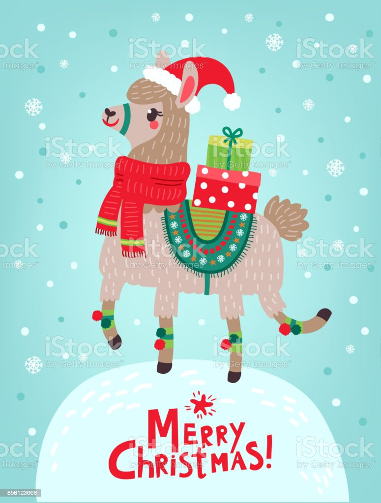 Christmas card. Lama. Happy New Year! vector art illustration
