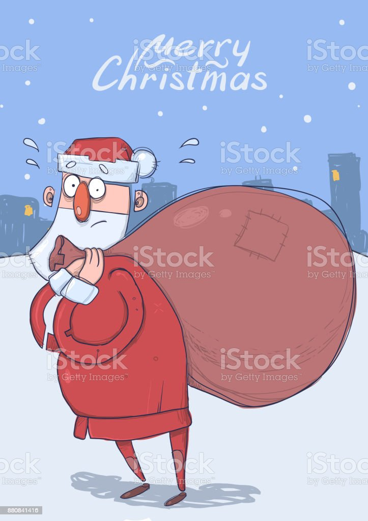 Christmas card of funny confused Santa Claus with big bag of gifts on evening snowy city background. Santa looks embarrassed. Vertical vector illustration. Cartoon character. Lettering. Copy space. vector art illustration