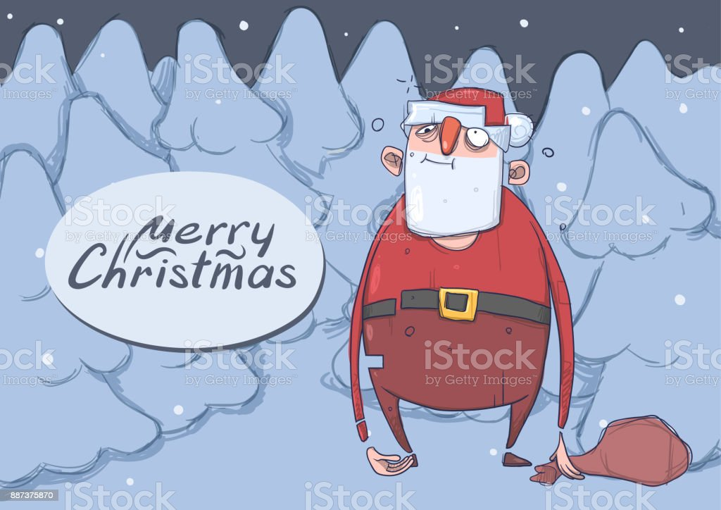 Christmas card of funny drunk Santa Claus with a bag in the night snowy spruce forest. Wasted Santa Claus got lost. Horizontal vector illustration. Cartoon character. Lettering with copy space. vector art illustration