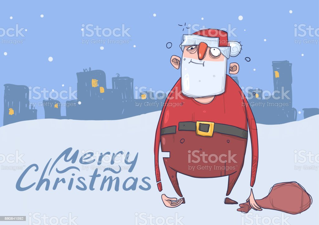 Christmas card of funny drunk Santa Claus with a bag on evening snowy city background. Happy Santa Claus got wasted. Horizontal vector illustration. Cartoon character. Lettering with copy space. vector art illustration
