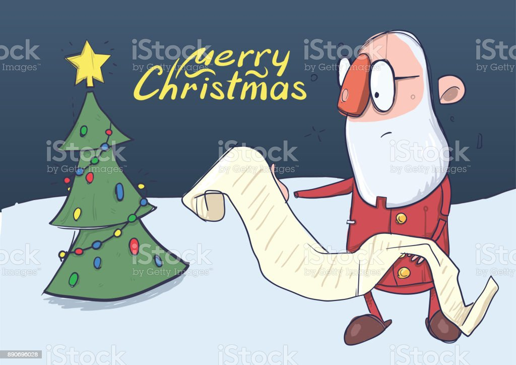 Christmas Card Of Funny Santa Claus In Glasses Reading A Long Scroll ...