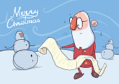 Christmas card of funny Santa Claus in glasses reading a long scroll and snowman. Vector character illustration.