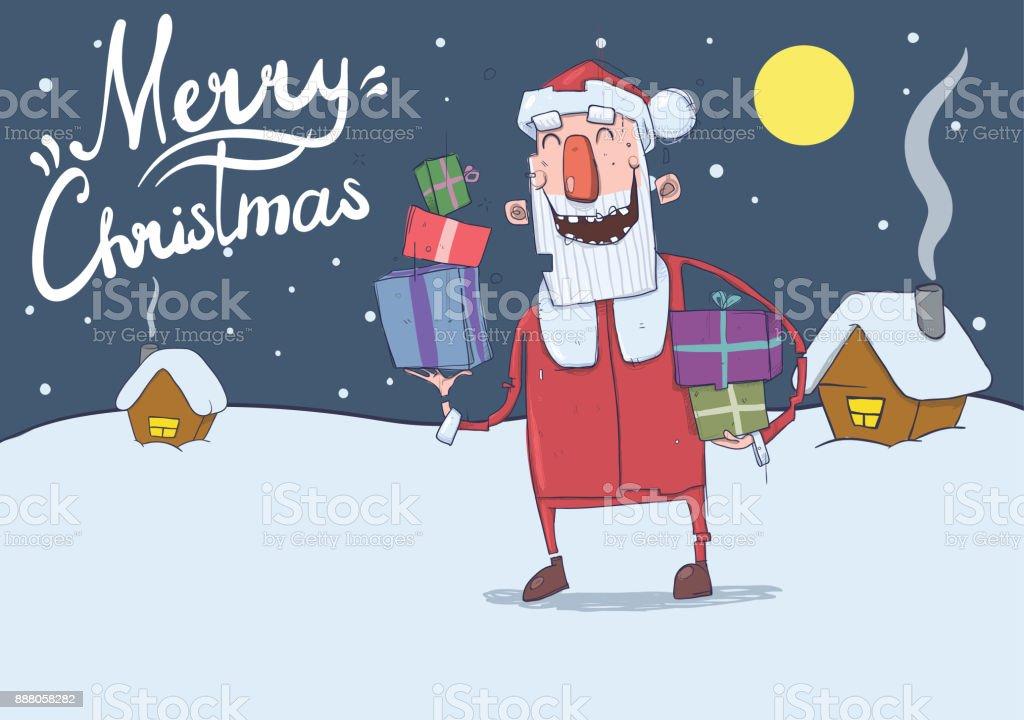 Christmas Card Of Funny Smiling Santa Claus Santa Claus Brings ...