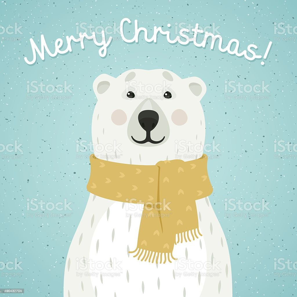 Christmas card of polar bear with scarf vector art illustration