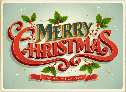 Christmas card Retrò with Merry Christmas Lettering