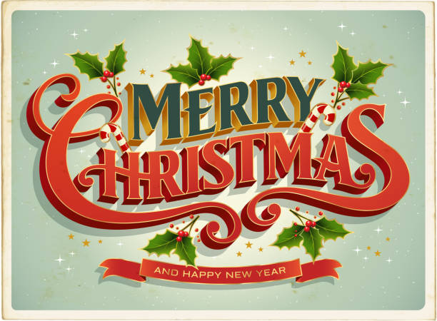 christmas card retrò with merry christmas lettering - christmas background stock illustrations