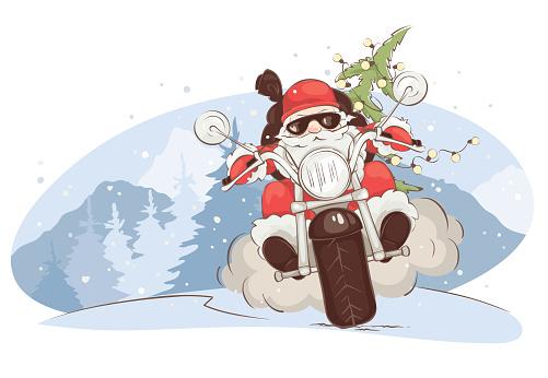 Christmas card -- Santa biker