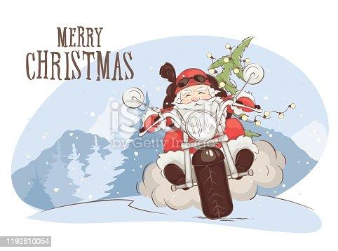 istock Christmas card -- Santa biker 1192810054