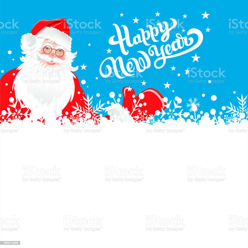 christmas card santa claus wishes you a happy new year royalty free christmas card