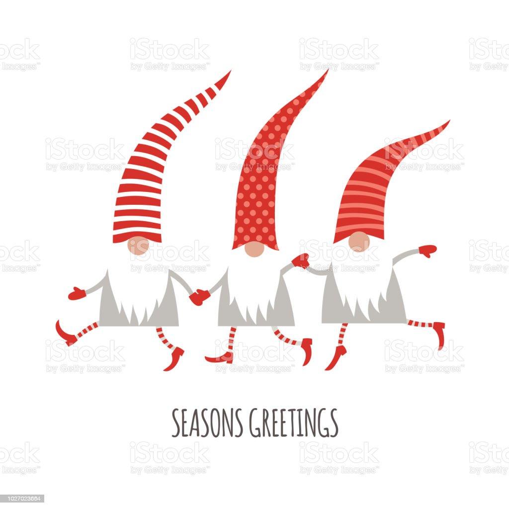 Christmas card seasons greetings cute christmas gnomes in red hats christmas card seasons greetings cute christmas gnomes in red hats royalty free christmas m4hsunfo