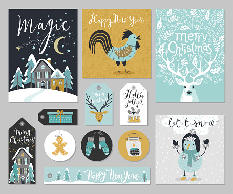Christmas card set, hand drawn style. clipart