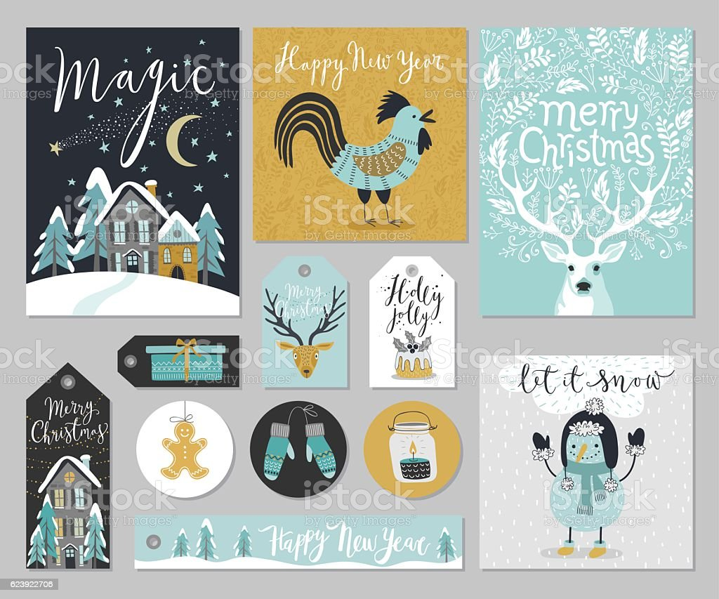 Christmas card set, hand drawn style. ベクターアートイラスト