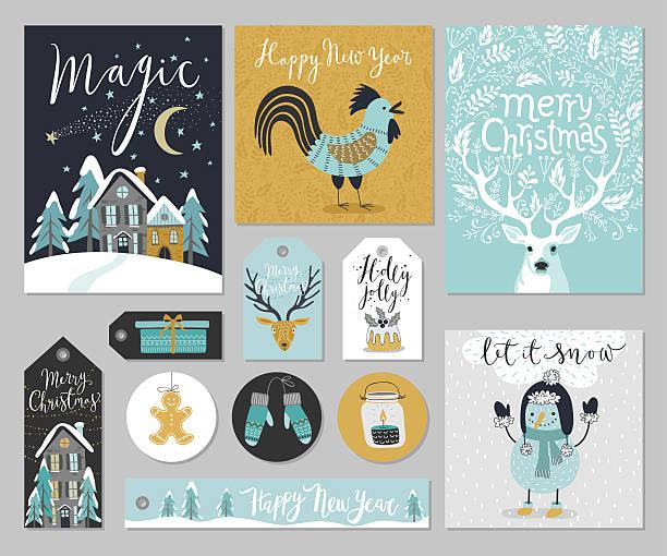 christmas card set, hand drawn style. - ホリデーシーズンのアイコン点のイラスト素材/クリップアート素材/マンガ素材/アイコン素材