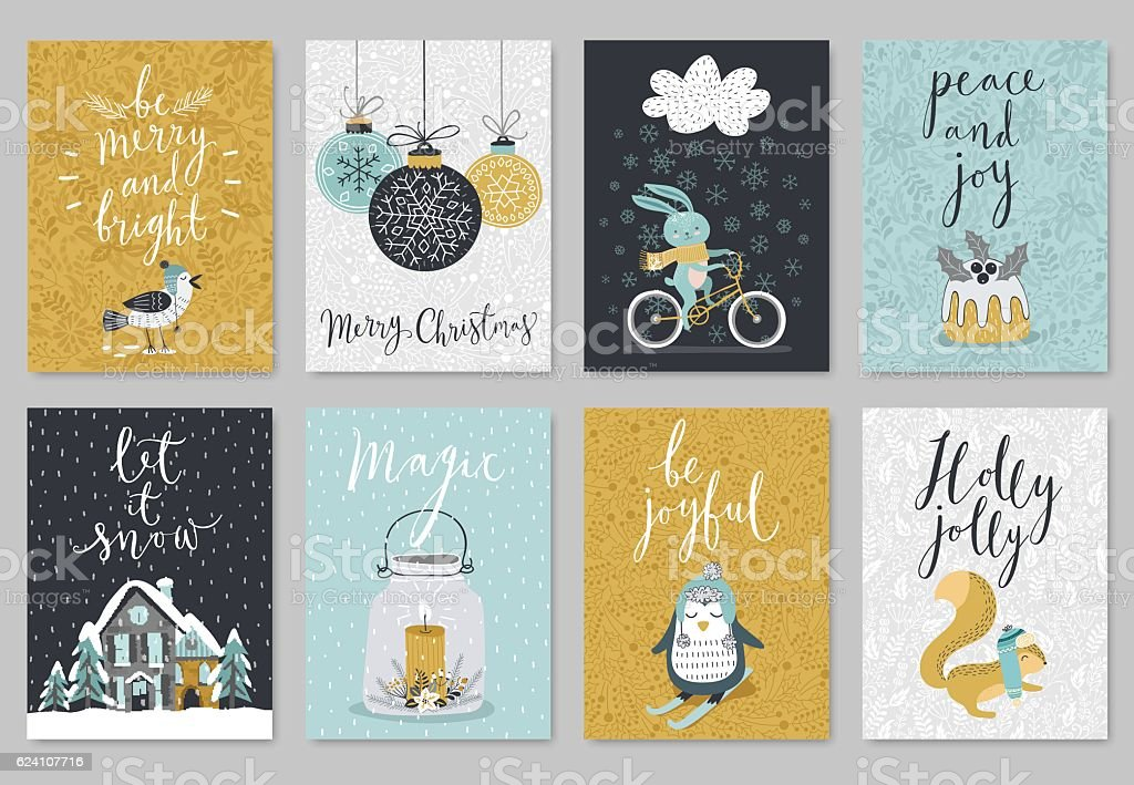 Christmas card set, hand drawn style. - Illustration vectorielle