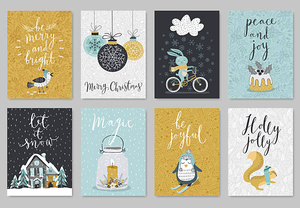 ilustraciones, imágenes clip art, dibujos animados e iconos de stock de christmas card set, hand drawn style. - calendario de animales