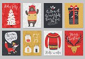 Christmas card set, hand drawn style.