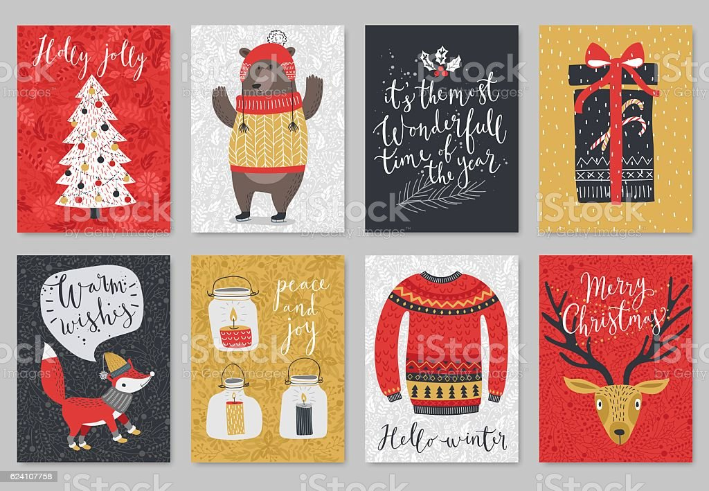 Christmas card set, hand drawn style. vector art illustration