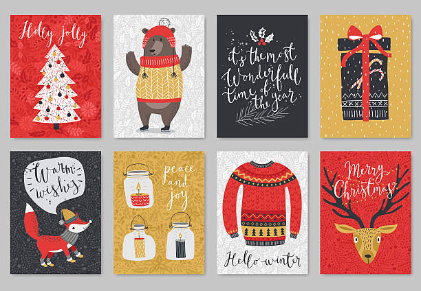 christmas card set, hand drawn style. - birds calendar stock illustrations, clip art, cartoons, & icons