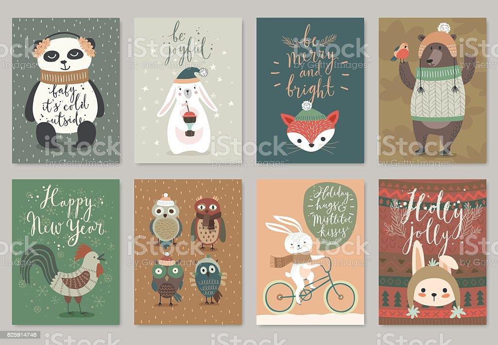 Christmas card set, hand drawn style.向量藝術插圖