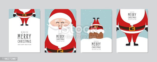 istock Christmas card set. Merry Christmas and Happy New Year greeting with cute santa claus lettering vector. 1180272967