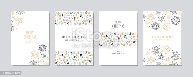 Christmas card set. Merry Christmas icon greeting text lettering card set white background vector.