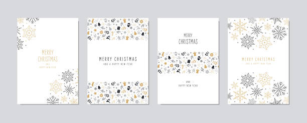 Christmas card set. Merry Christmas icon greeting text lettering card set white background vector. Christmas card set. Merry Christmas icon greeting text lettering card set white background vector. greeting card stock illustrations