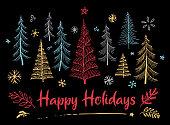 Hand drawn christmas design on black background