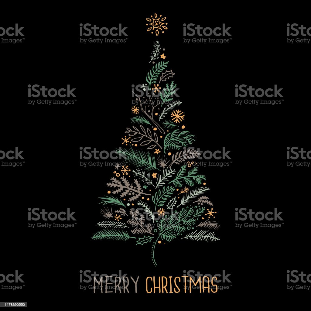 Christmas card sketch Hand drawn christmas design on black background Black Background stock vector