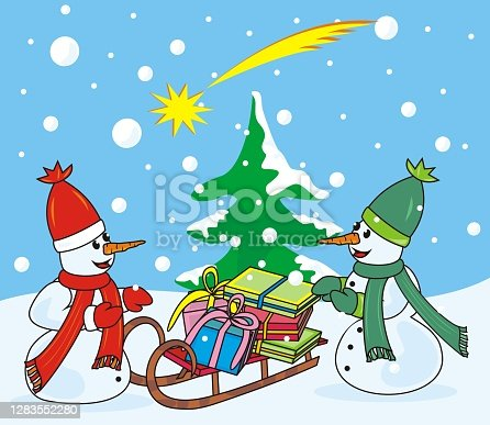 istock Christmas card, snowmen, vector illustration 1283552280