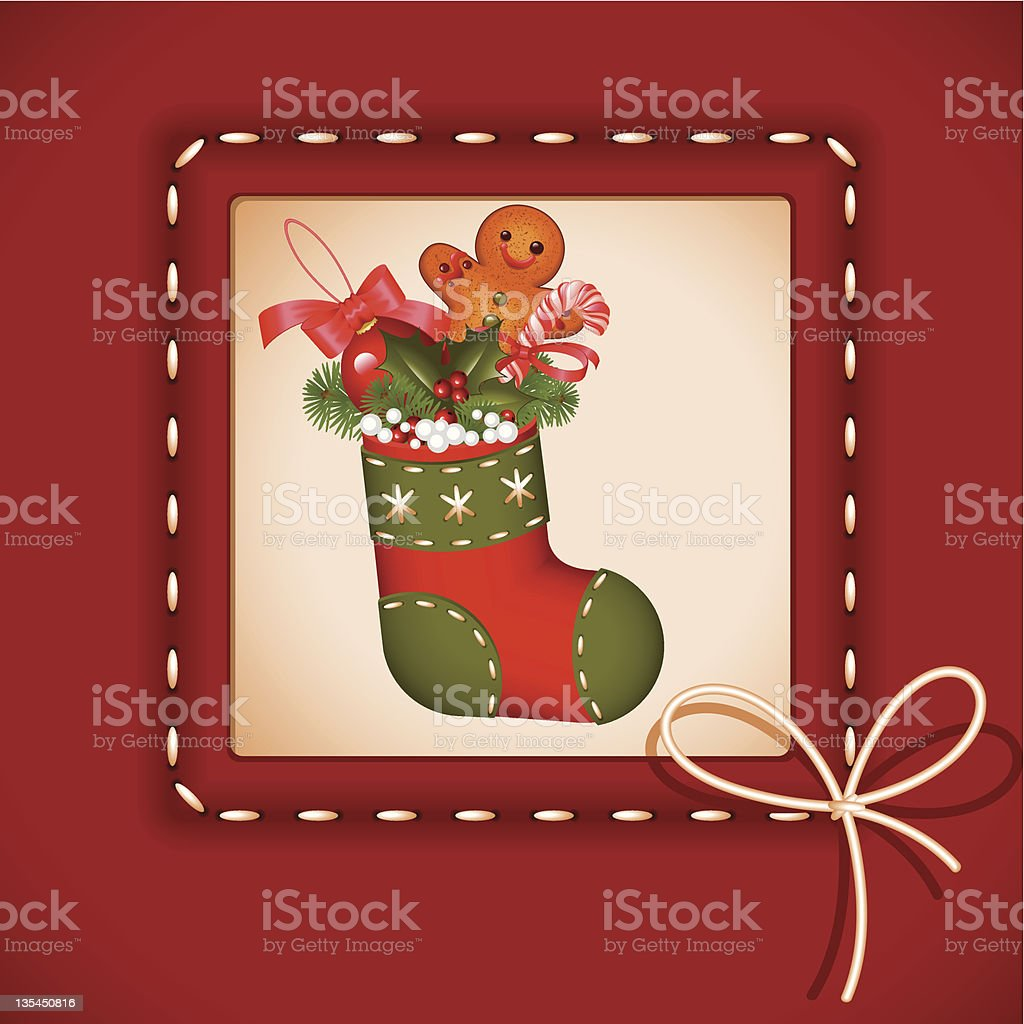 Christmas card. stocking royalty-free stock vector art
