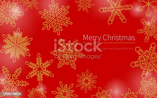 Christmas card studded with snowflakes