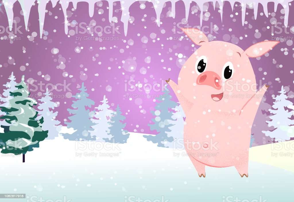 christmas card template cute pig icicles stock vector art more