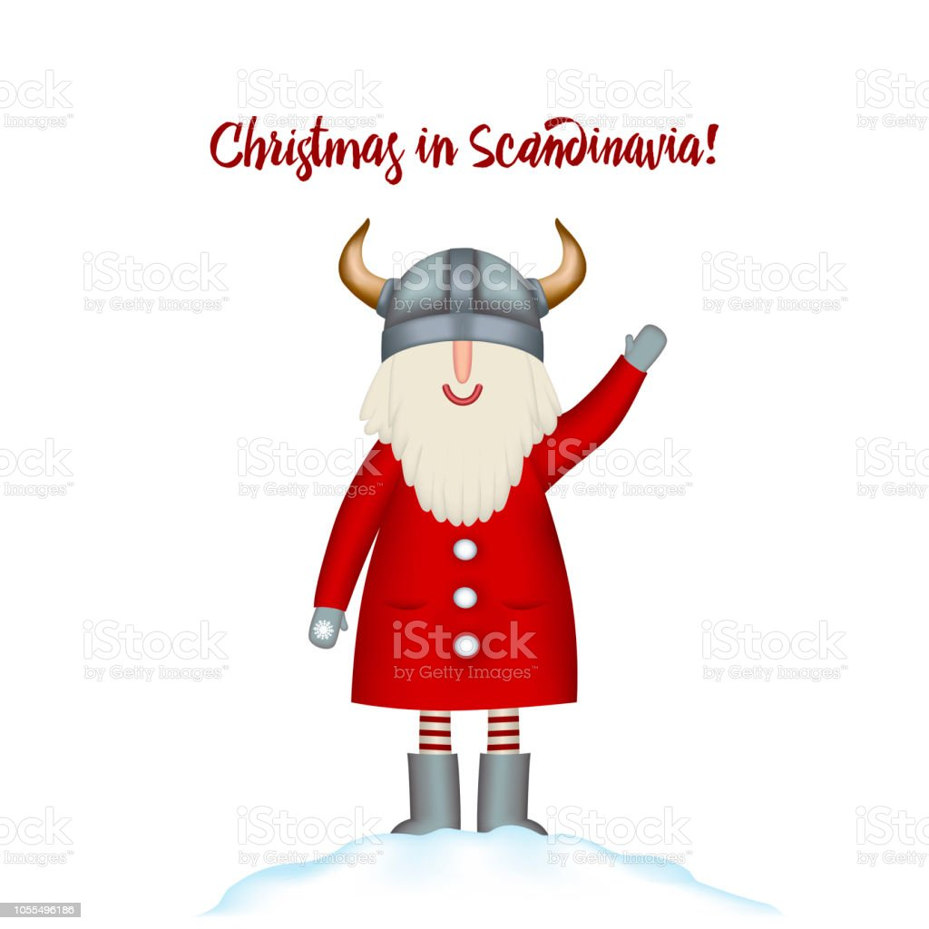 Christmas Card Template Festive Holidays Happy Santa Stands In ...