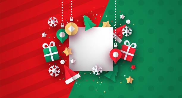 bildbanksillustrationer, clip art samt tecknat material och ikoner med julkort mall för 3d papper dekoration - christmas present