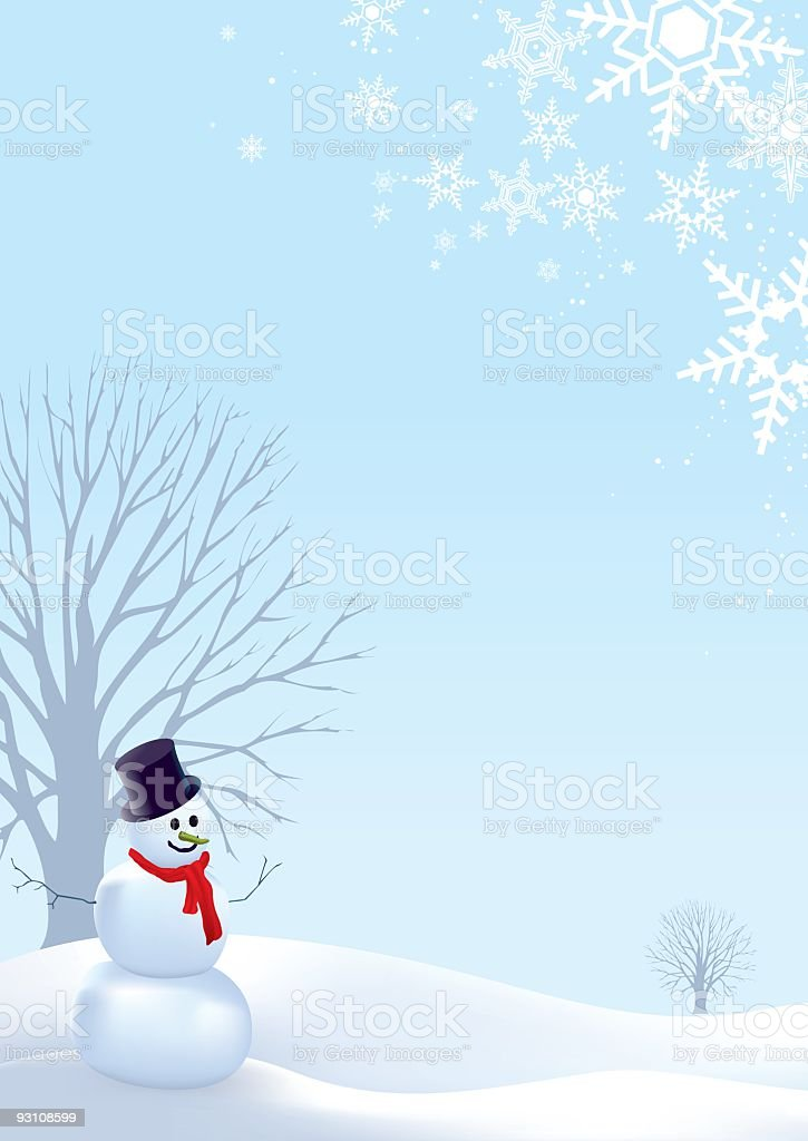 Christmas card template of snowman in winter landscape scene royalty-free stock vector art