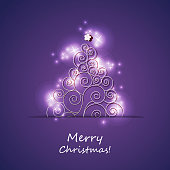 Colorful Christmas Card, Flyer or Cover Design with Tree Silhouette - Template in Freely Scalable and Editable Vector Format