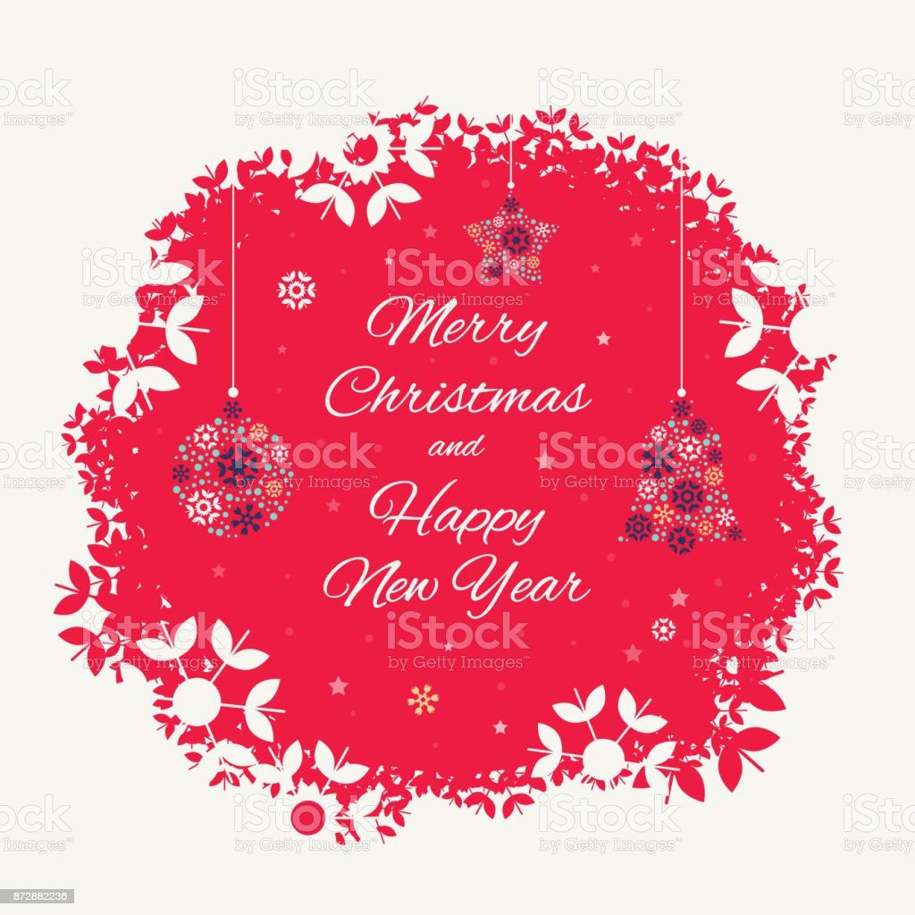 Christmas card template with christmas decorations vector art illustration