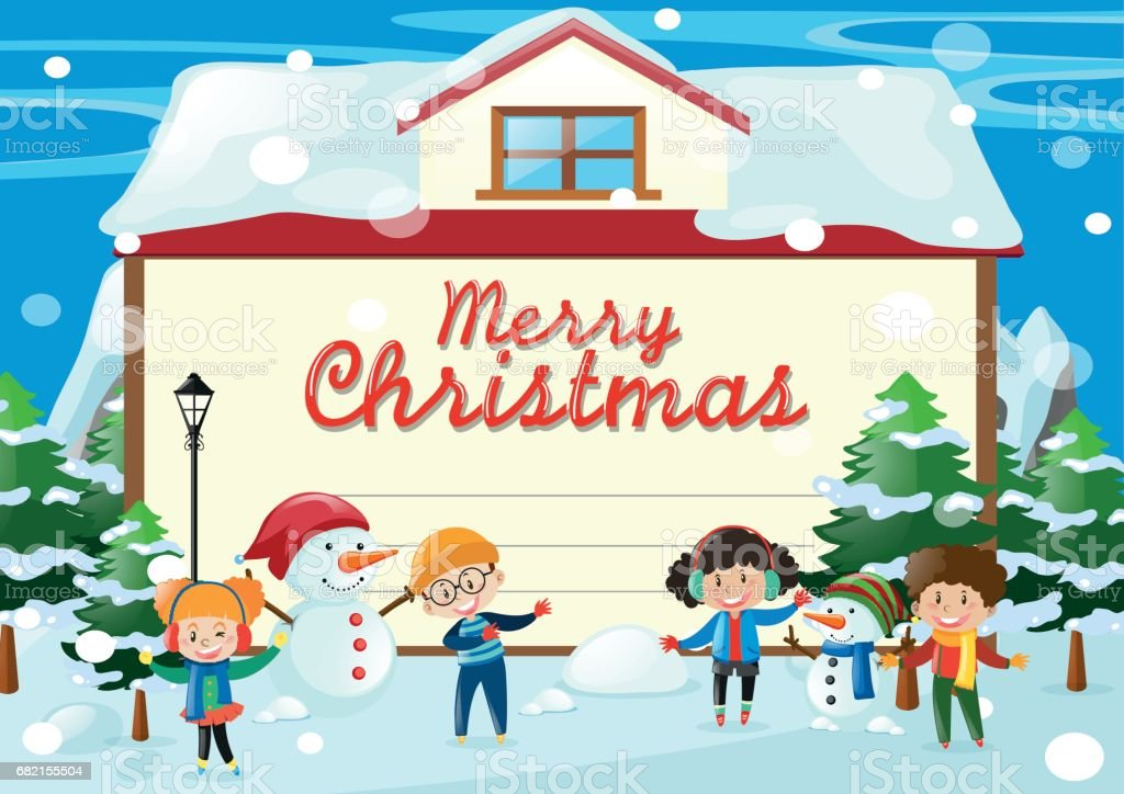 Christmas Card Template With Kids In The Snow Royalty Free Christmas Card  Template With Kids
