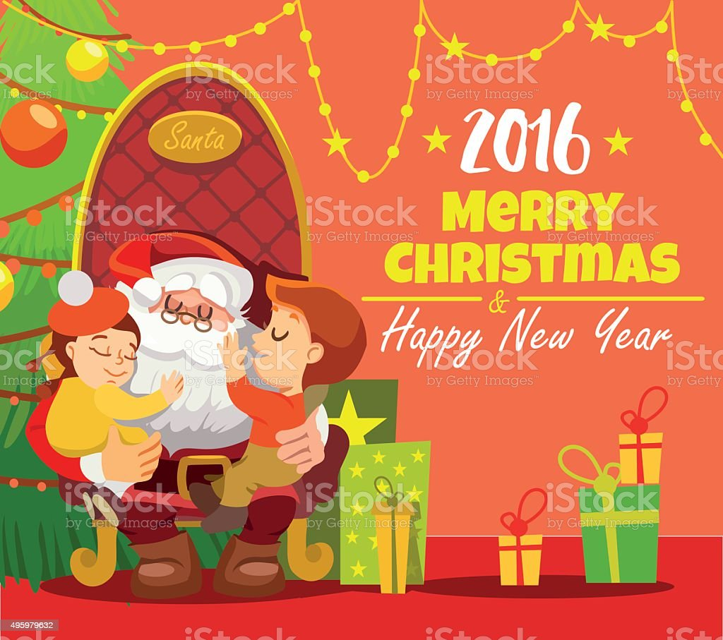 Christmas Card Template With Santa Holding Kids In Armchair stock ...