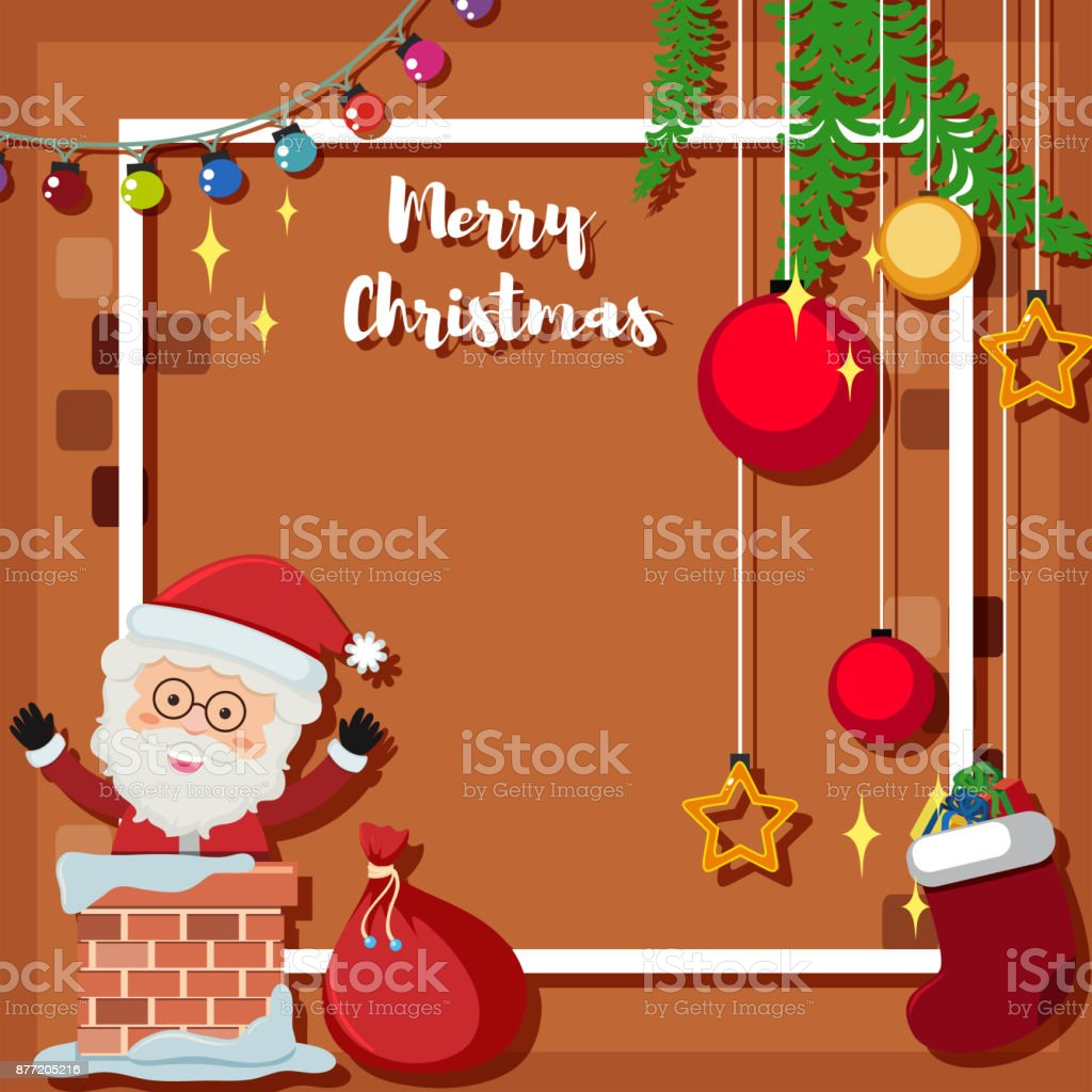 Christmas Card Template With Santa In Chimney Stock Vector Art