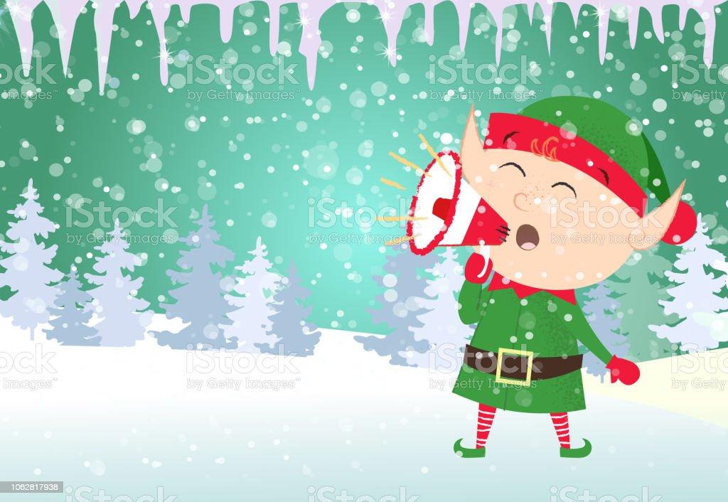 christmas card template xmas elf shouting stock vector art more