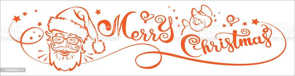 Weihnachtskarte Text Frohe Weihnachten Und Der Weihnachtsmann Stock ...