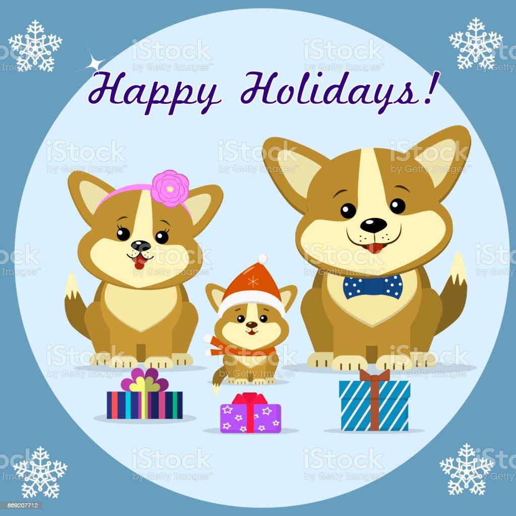 Christmas card three cute dog corgi family sitting next to gift christmas card three cute dog corgi family sitting next to gift boxes in kristyandbryce Image collections