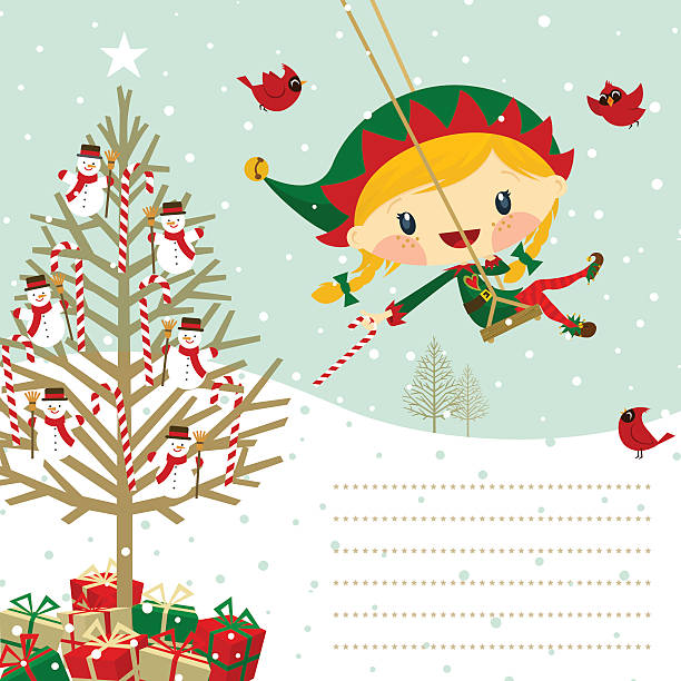 Christmas card to Santa Claus. Xmas elf girl. Cute elf girl. Please see some similar pictures in my lightboxs: little girls in panties stock illustrations