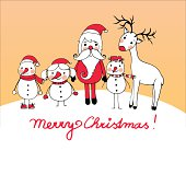 Christmas card with Santa, reindeer and three little snowmen
