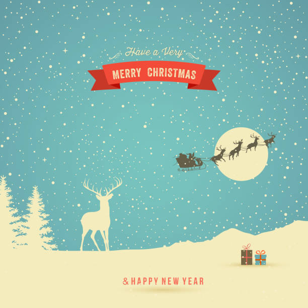 Christmas Card Holiday Card, winter landscape with reindeer and red banner north pole stock illustrations